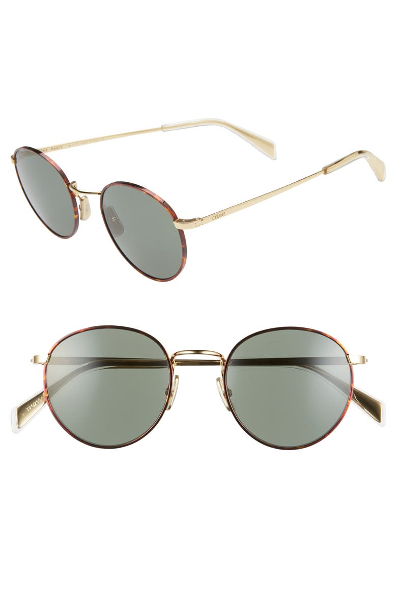 CELINE 50mm Round Sunglasses, Main, color, BRONZE/ GREEN