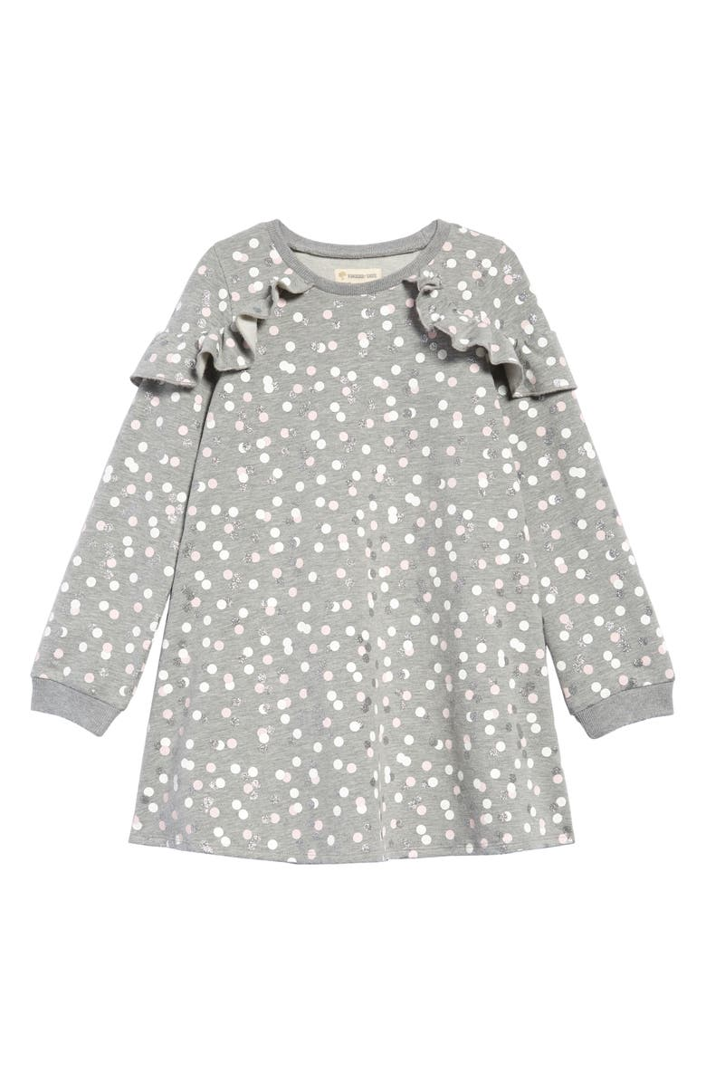 TUCKER + TATE Glitter Confetti Dot Ruffle Sweatshirt Dress, Main, color, GREY MD HEATHER CONFETTI DOT
