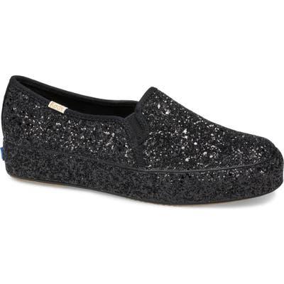 Keds X Kate Spade New York Triple Decker Allover Glitter Slip-On Sneaker, Black