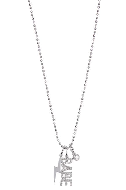 Image of EF Collection 14K White Gold Pave Diamond Babe Pendant Necklace - 0.16 ctw