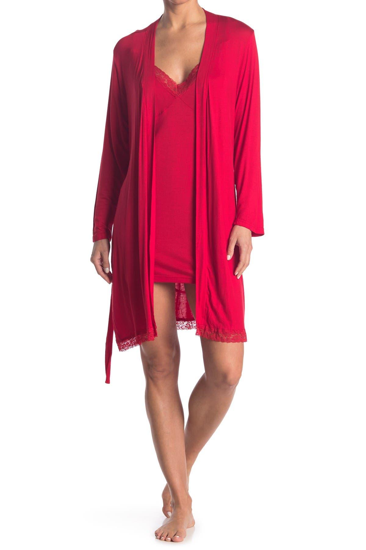 Image of Blis Travel Jersey Chemise & Robe 2-Piece Pajama Set