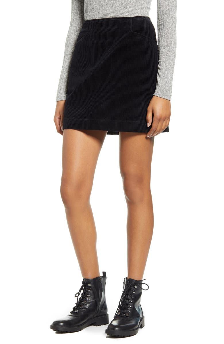 AG Bernadette Corduroy Miniskirt, Main, color, SUPER BLACK