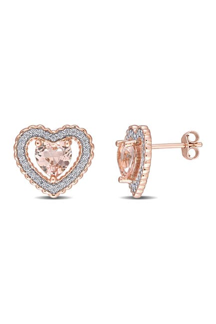 Image of Delmar Rose Plated Sterling SIlver CZ & Simulated Morganite Heart Earrings