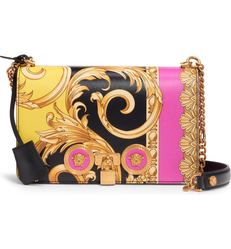 VERSACE FIRST LINE Barocco Icon Painted Leather Shoulder Bag, Main, color, BLACK MULTI/ TRIBUTE GOLD