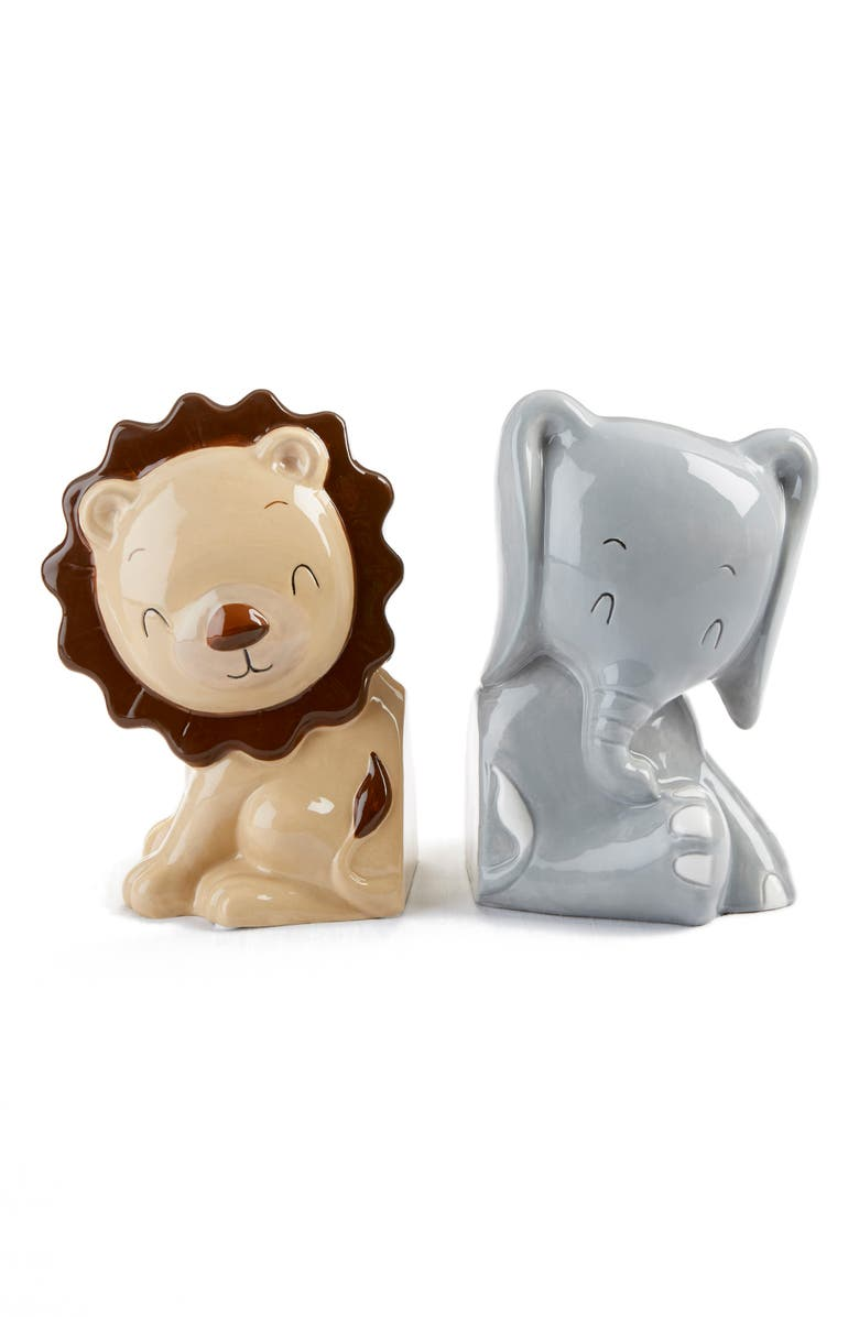 BABY ASPEN Ceramic Safari Bookends, Main, color, GREY/ BROWN