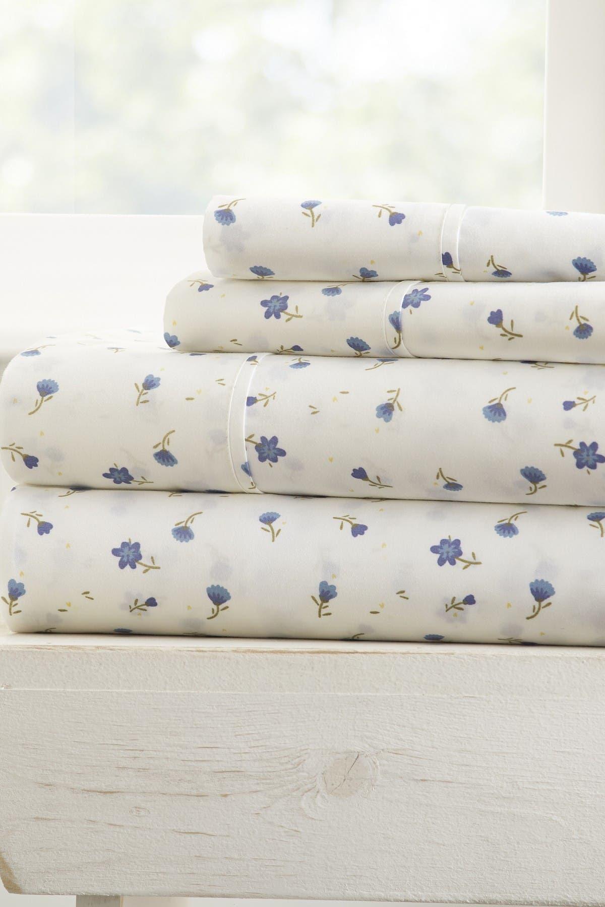 IENJOY HOME Home Spun Premium Ultra Soft Floral Pattern 4-Piece California King Bed Sheet Set - Light Blue at Nordstrom Rack
