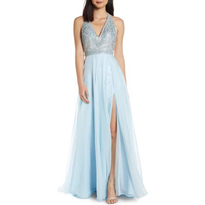 MAC Duggal Beaded Halter Prom Dress With Slit Hem, Blue