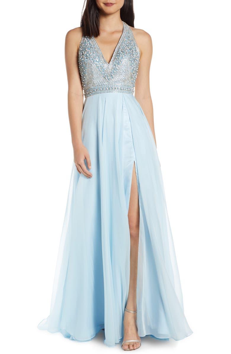 MAC DUGGAL Beaded Halter Prom Dress with Slit Hem, Main, color, ICE BLUE