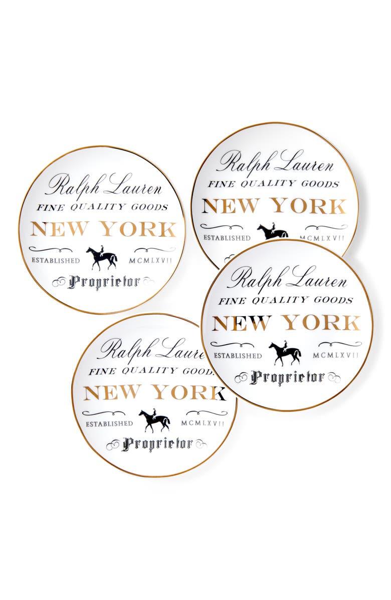 RALPH LAUREN RL City Collection Set of 4 Canapé Plates, Main, color, NEW YORK