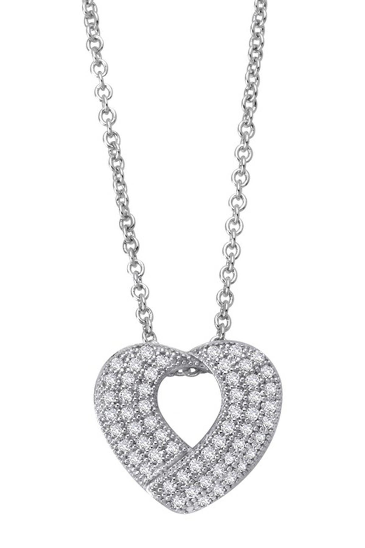 Image of LaFonn Platinum Over Sterling Silver Simulated Diamond Micro Pave Open Heart Pendant Necklace