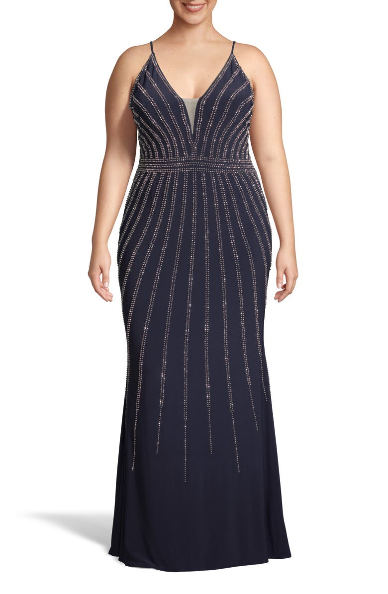 XSCAPE Beaded Evening Dress, Main, color, NAVY/ ROSE
