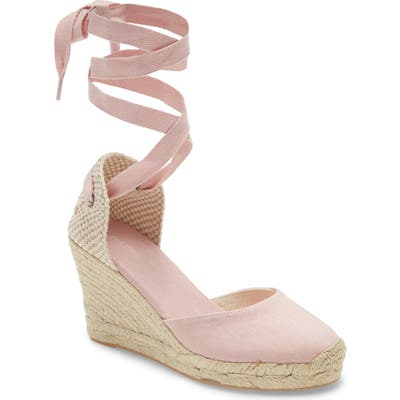 Soludos Wedge Lace-Up Espadrille Sandal- Pink