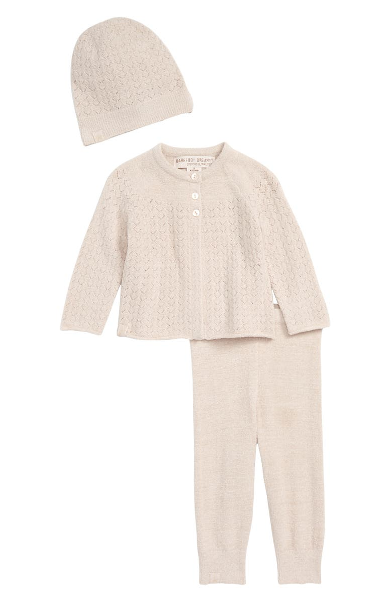 BAREFOOT DREAMS<SUP>®</SUP> CozyChic<sup>™</sup> Ultra Lite Pointelle Cardigan, Pants & Beanie Set, Main, color, SHELL