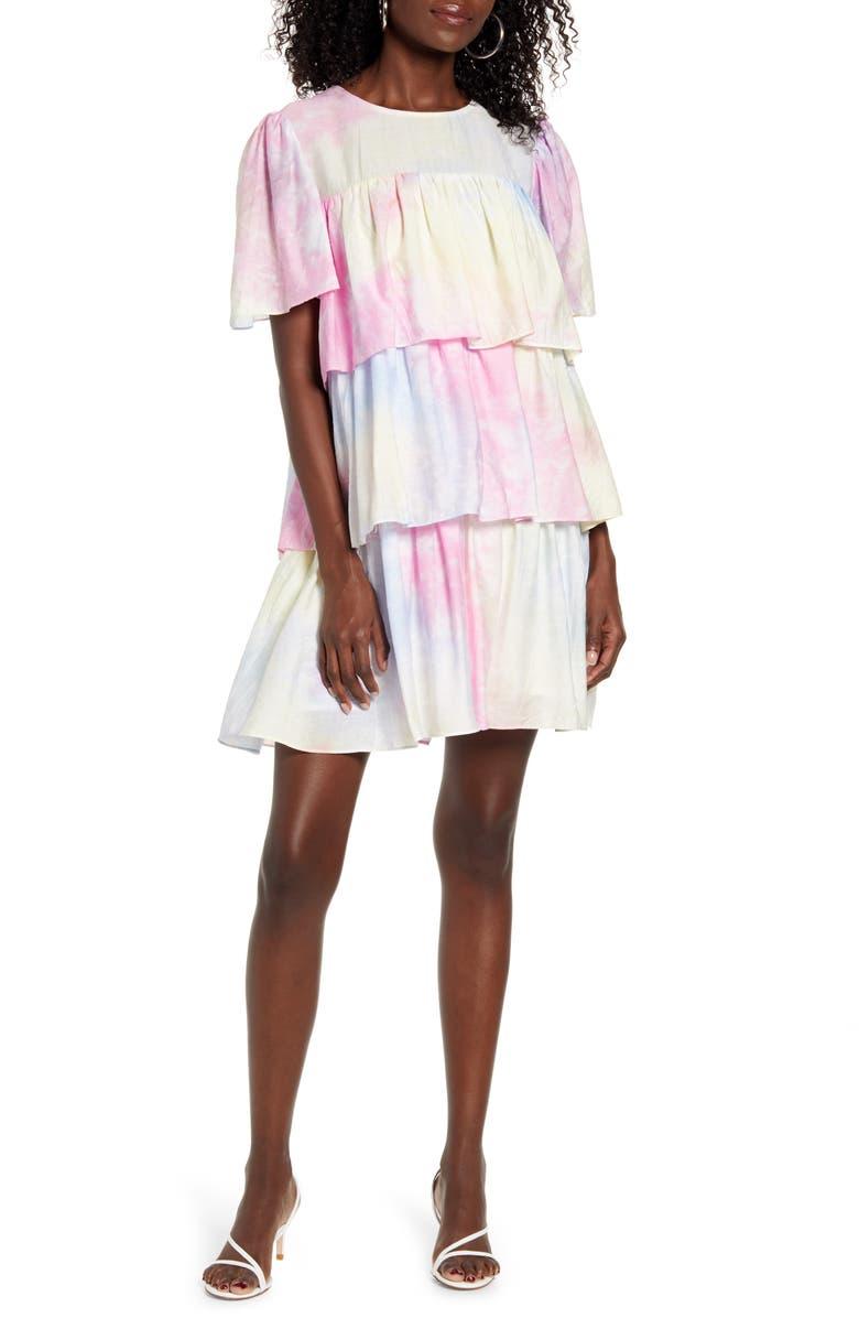 ENGLISH FACTORY Tiered Ruffle Shift Dress, Main, color, PINK MULTI