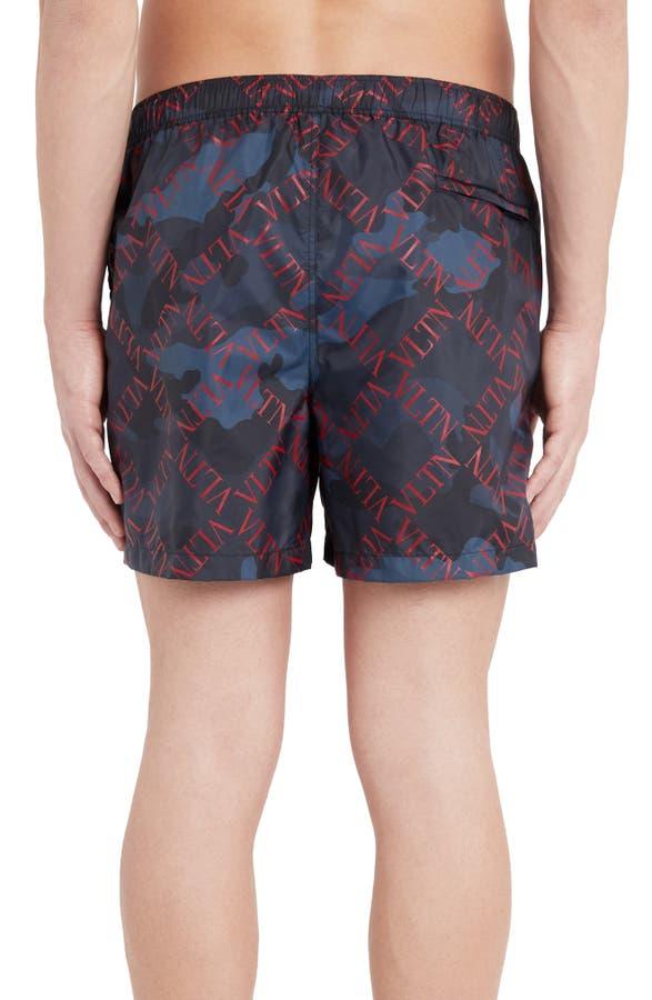 be8eb9aae1 Valentino Diamond Logo Camo Swim Trunks In Marine/ Scarlet | ModeSens