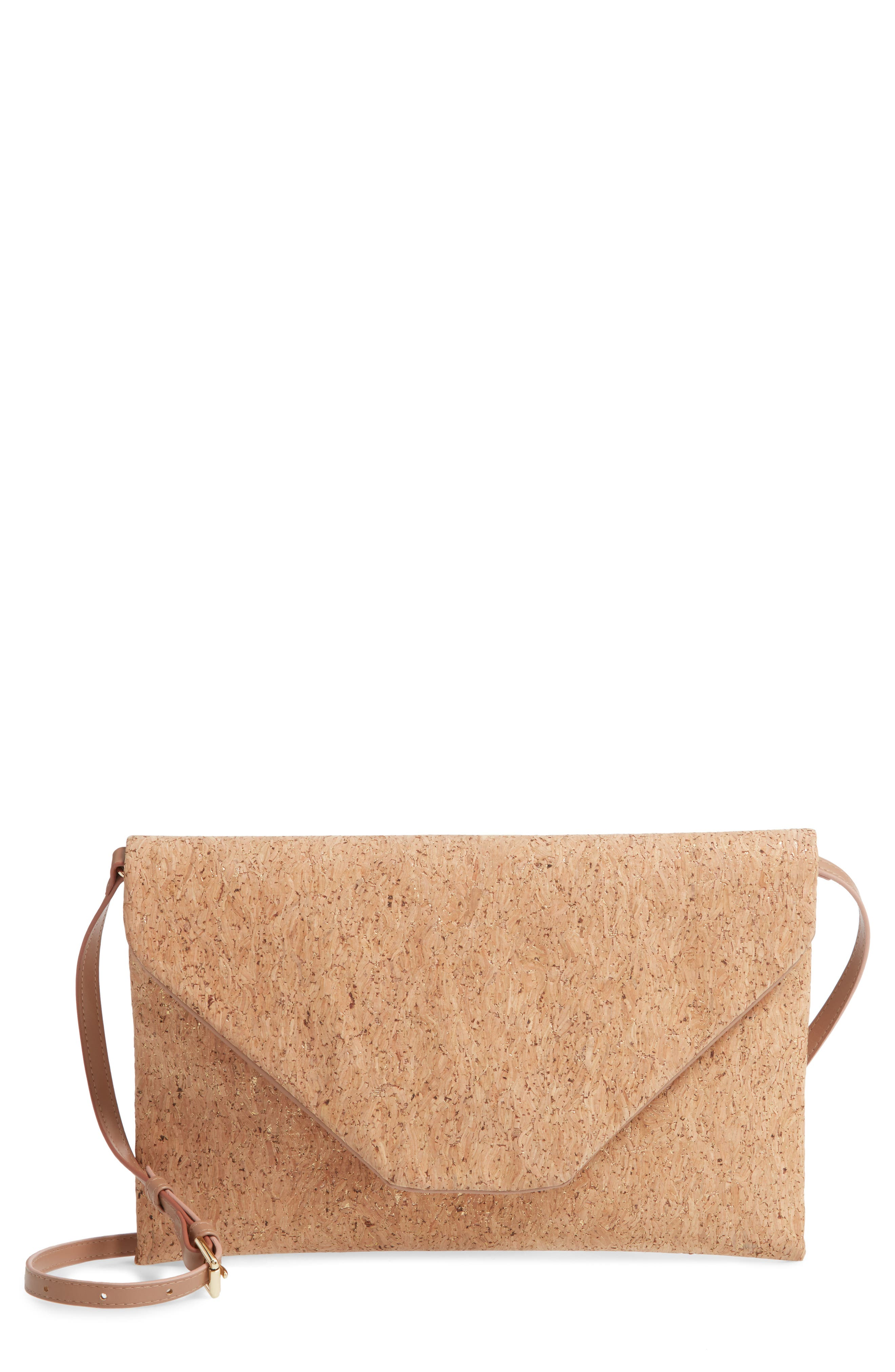 A naturally chic accessory looks so fresh right now, like this shimmery cork envelope bag that can be carried as a clutch or slung over the shoulder. Style Name: Nordstrom Envelope Cork Shoulder Bag. Style Number: 5960087. Available in stores.