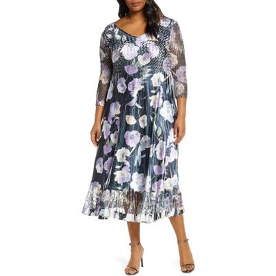 Plus Size Komarov Watercolor Print Chiffon Cocktail Dress, Black