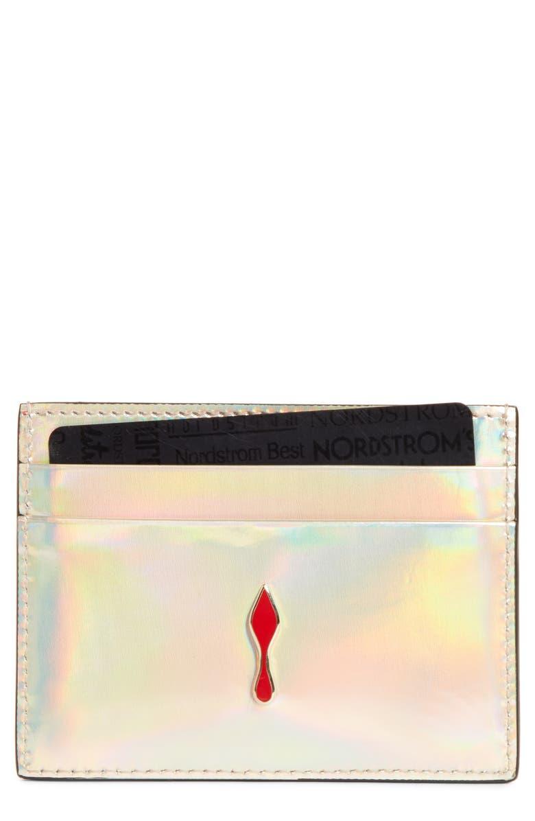 CHRISTIAN LOUBOUTIN Kios Iridescent Leather Card Case, Main, color, 040