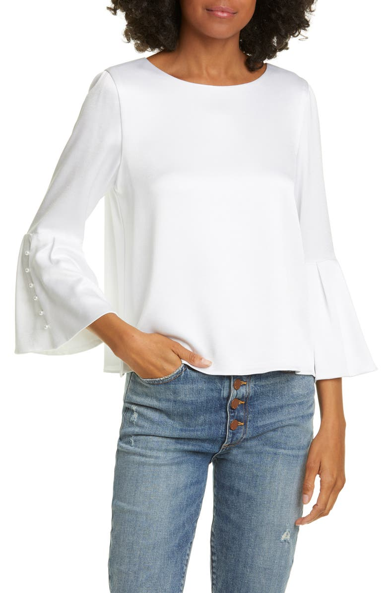 ALICE + OLIVIA Bernice Bell Sleeve Top, Main, color, WHITE