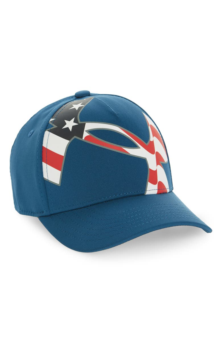 UNDER ARMOUR Billboard Americana Baseball Cap, Main, color, PETROL BLUE