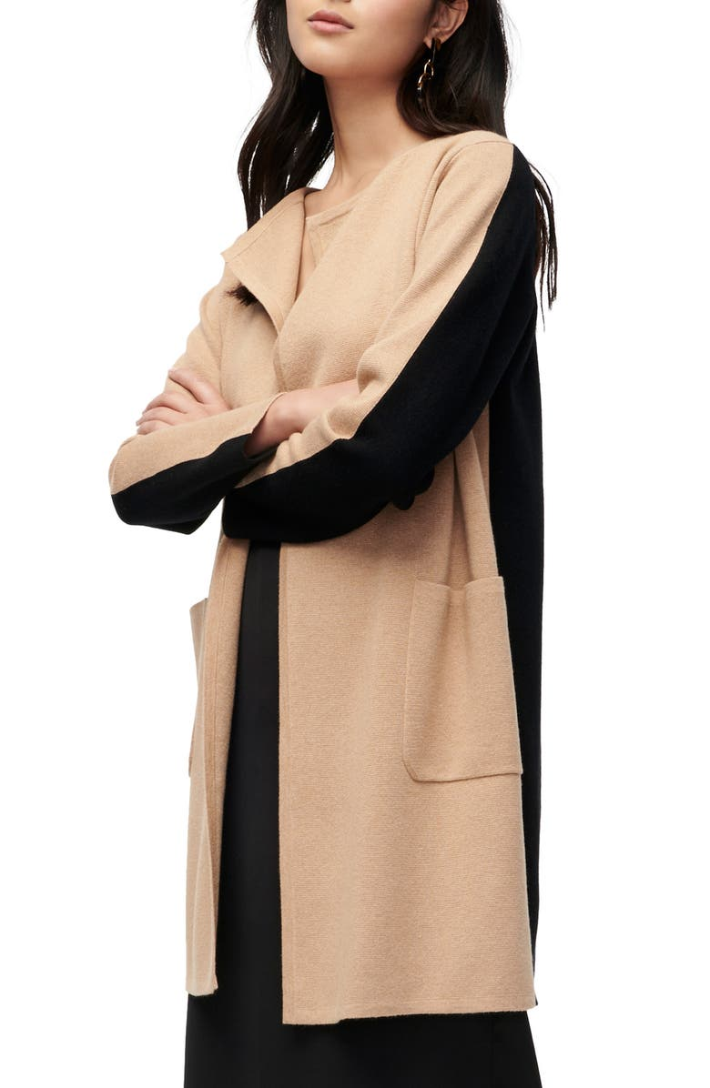 J.CREW Juliette Colorblock Collarless Sweater Blazer, Main, color, BLACK HTHR KHAKI