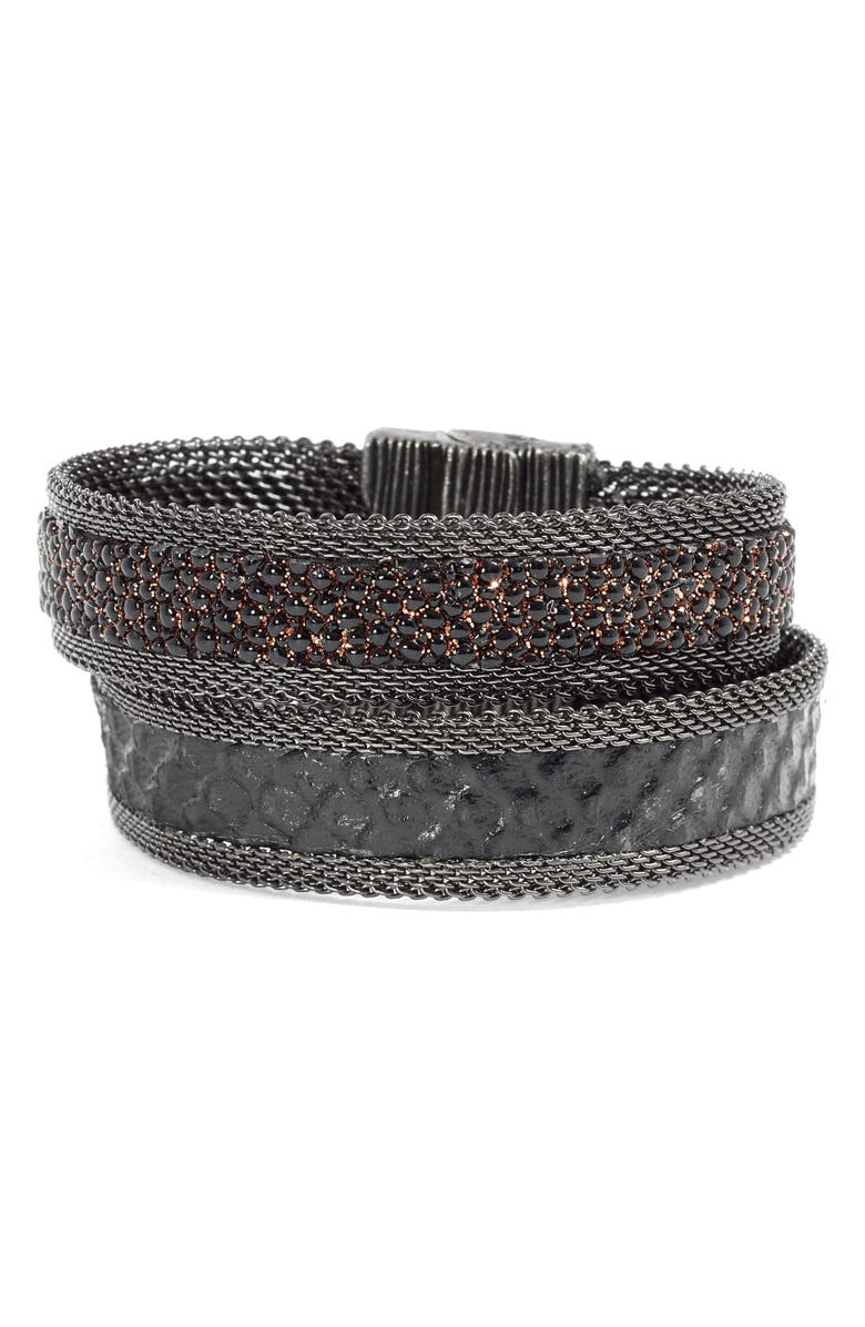 CYNTHIA DESSER Shimmer Stingray & Snakeskin Bracelet, Main, color, 001