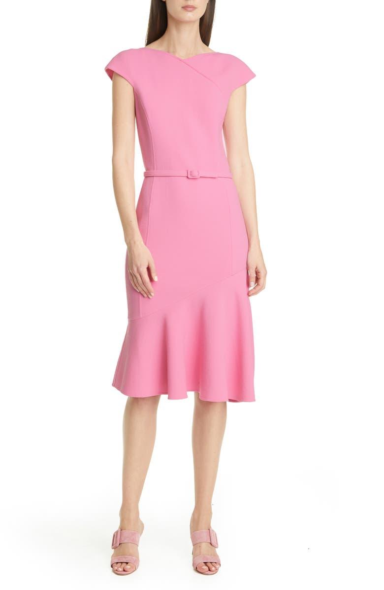 OSCAR DE LA RENTA Ruffle Hem Belted Crepe Dress, Main, color, BEGONIA