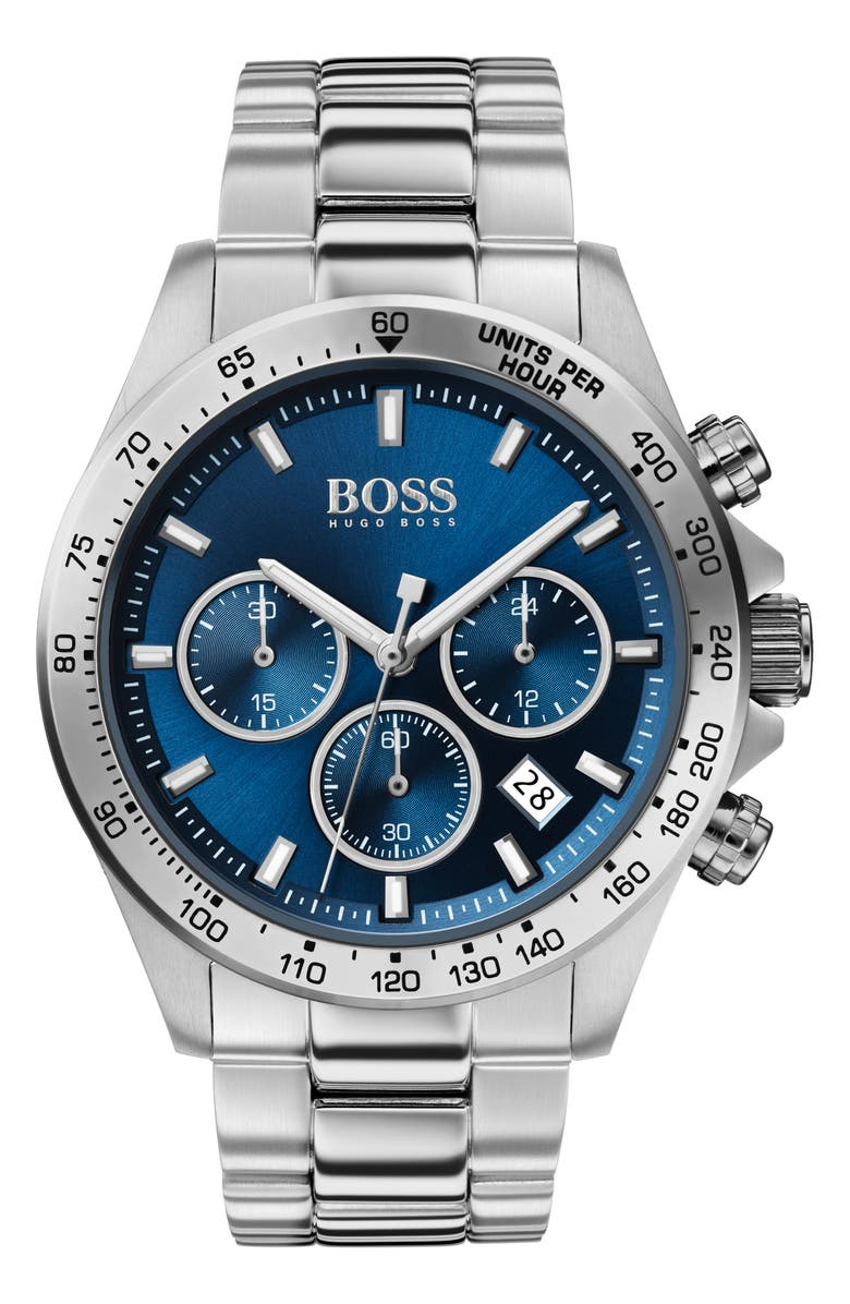 BOSS Hero Chronograph Bracelet Watch, 43mm, Main, color, SILVER/ BLUE/ SILVER