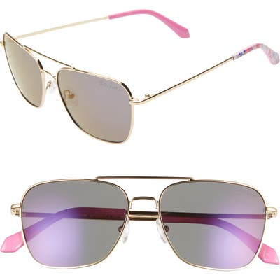 Lilly Pulitzer Kate 55Mm Aviator Sunglasses - Shiny Gold/ Lavendar