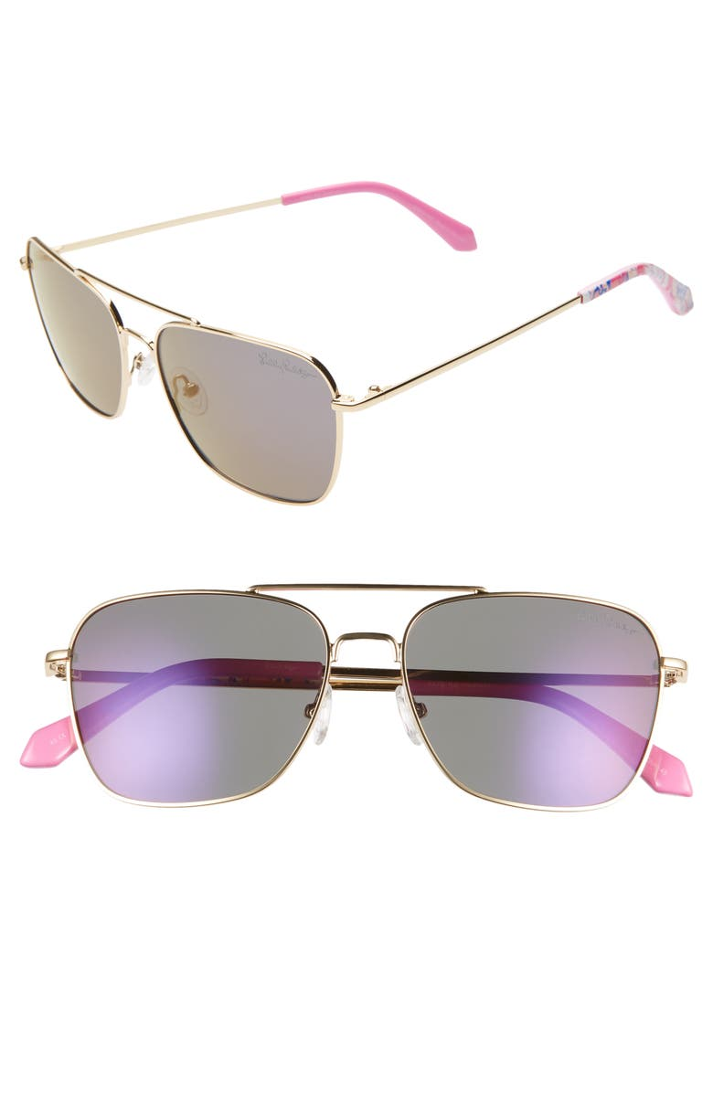 LILLY PULITZER<SUP>®</SUP> Kate 55mm Aviator Sunglasses, Main, color, SHINY GOLD/ LAVENDAR