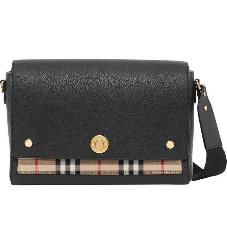 BURBERRY Medium Hackberry Leather & Check Crossbody Bag, Main, color, 001