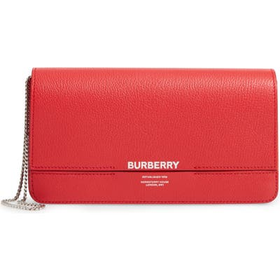 Burberry Grace Leather Clutch - Red