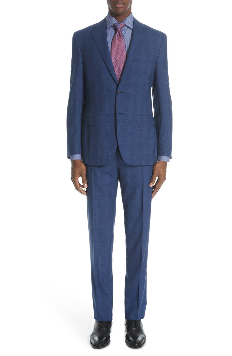 CANALI Siena Classic Fit Plaid Wool Suit, Main, color, BRIGHT BLUE