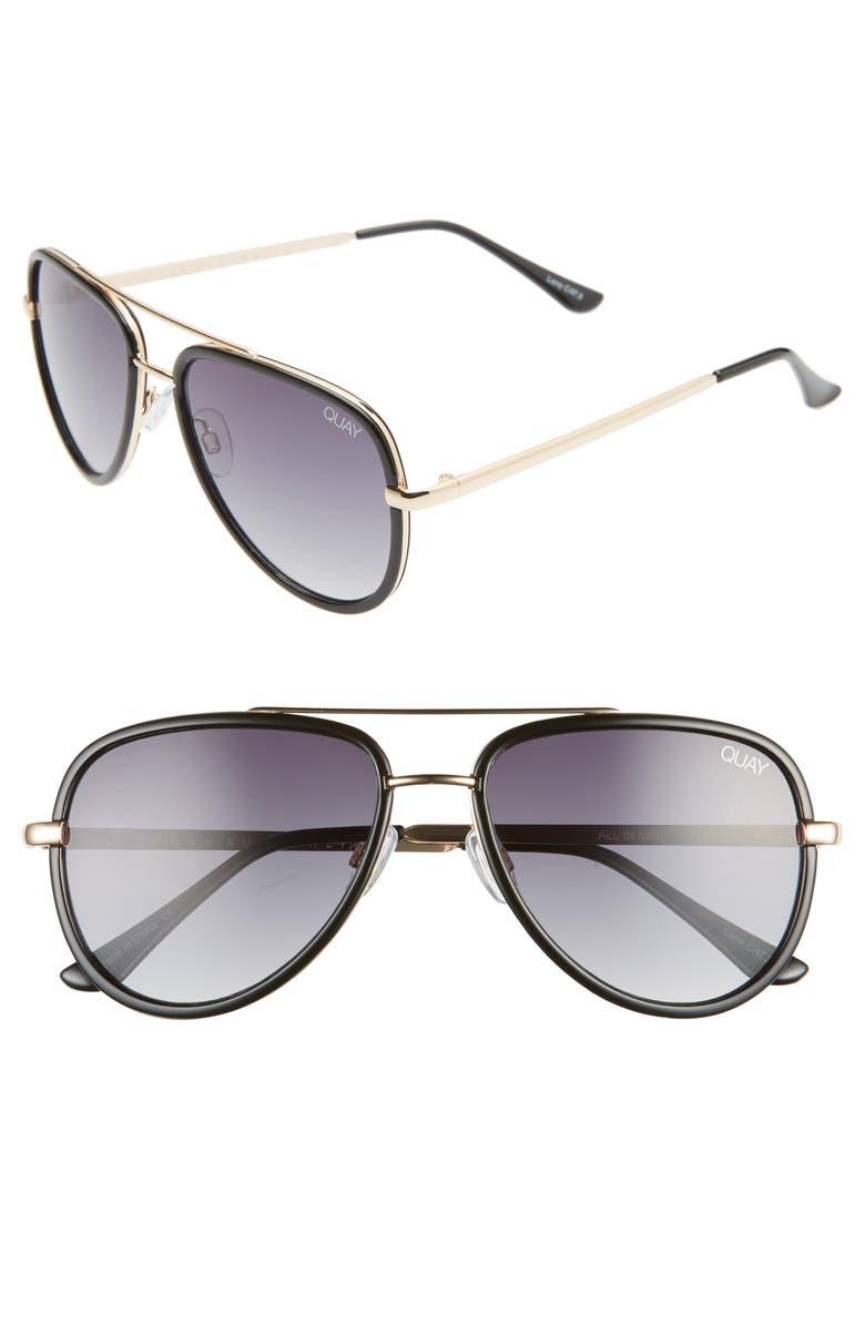 QUAY AUSTRALIA All In 52mm Mini Aviator Sunglasses, Main, color, BLACK/ SMOKE FADE