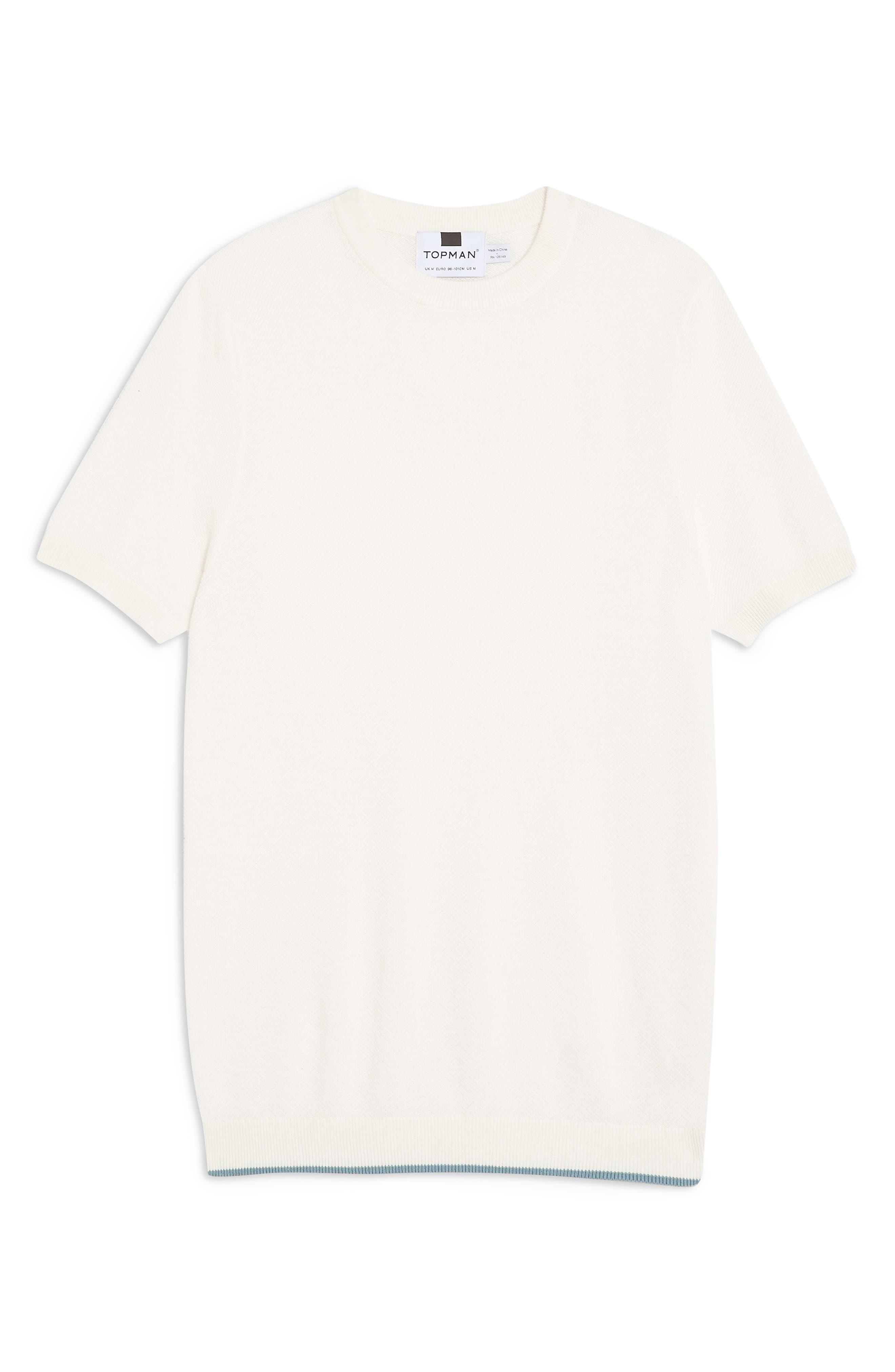 ,                             Piqué Knit Sweater T-Shirt,                             Alternate thumbnail 4, color,                             WHITE