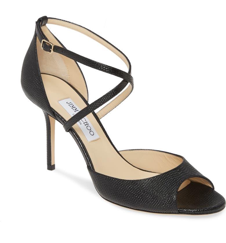 JIMMY CHOO Emsy Cross Strap Sandal, Main, color, BLACK