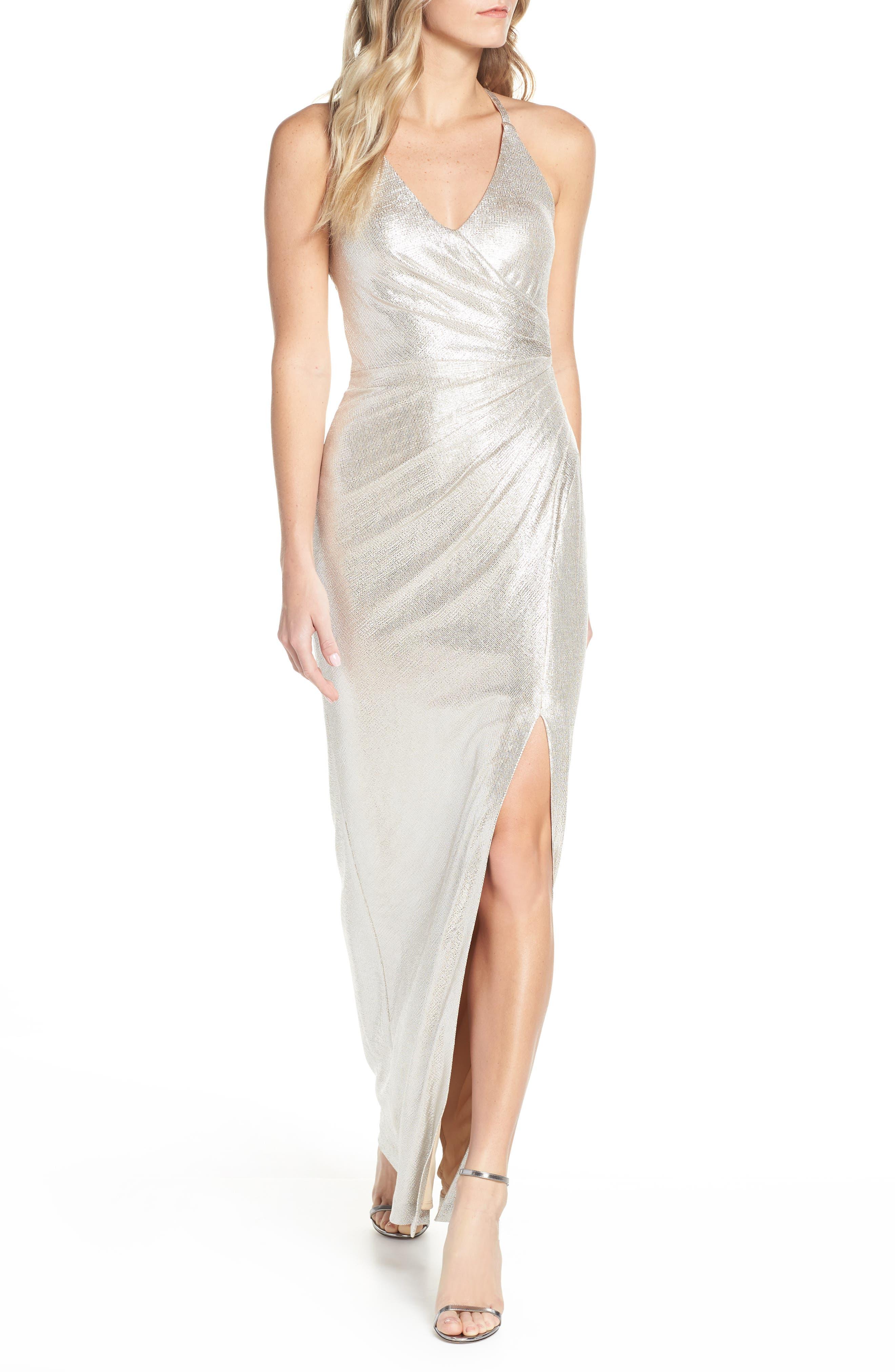 Eliza J Side Pleated Metallic Column Gown, Metallic
