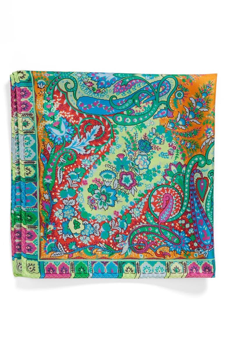 ETRO 'USA Paisley' Silk Pocket Square, Main, color, 300