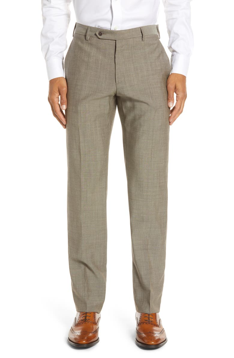ZANELLA Parker Flat Front Solid Wool Dress Pants, Main, color, TAN