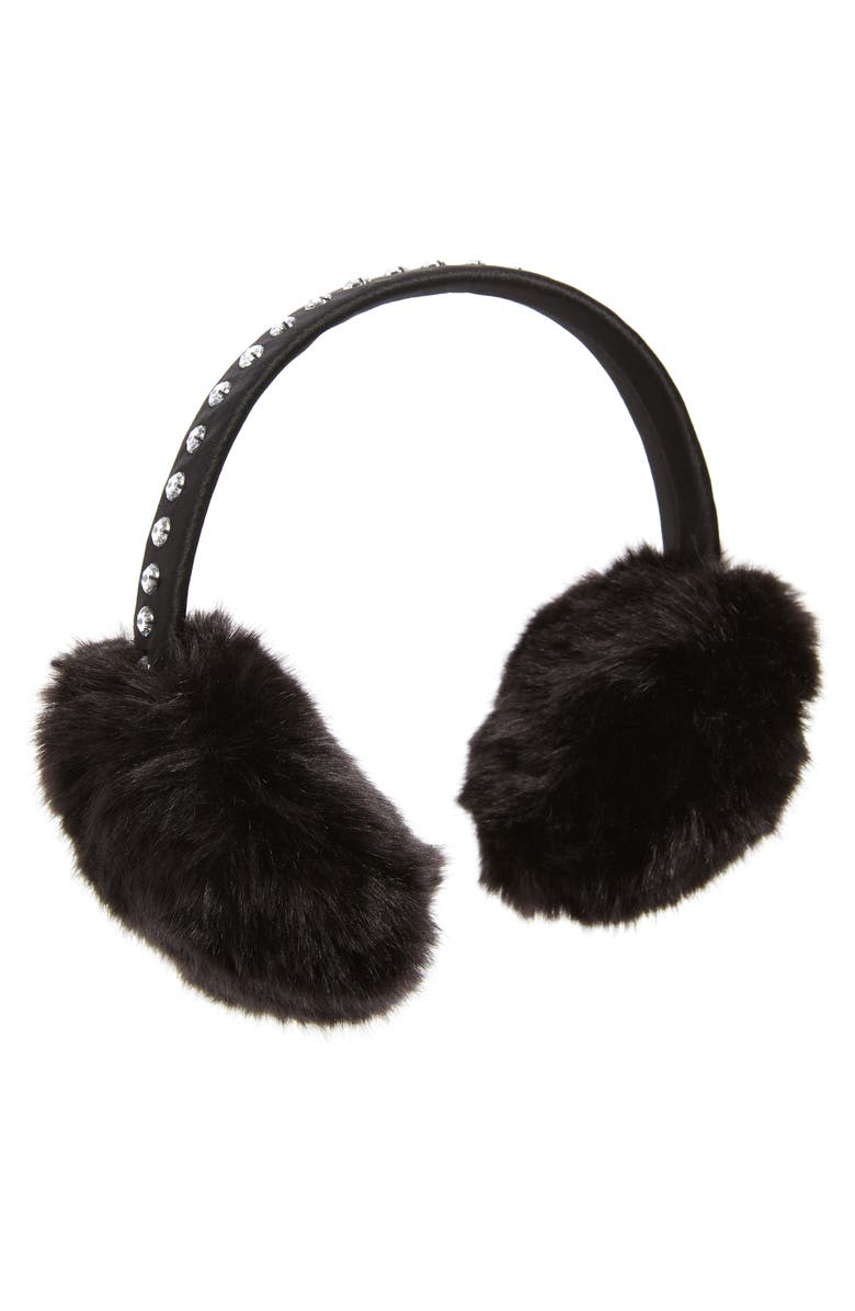 KATE SPADE NEW YORK bedazzled faux fur earmuffs, Main, color, 001