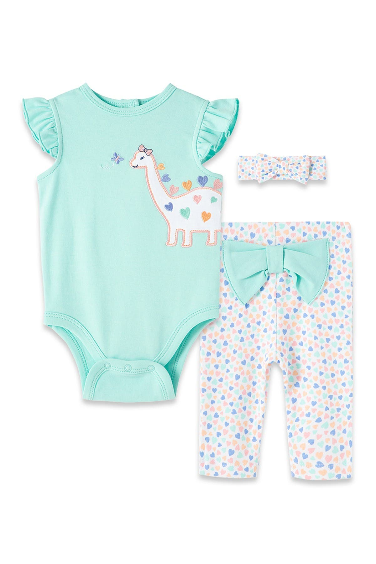Little Me Sets DINO GIRL BODYSUIT PANT