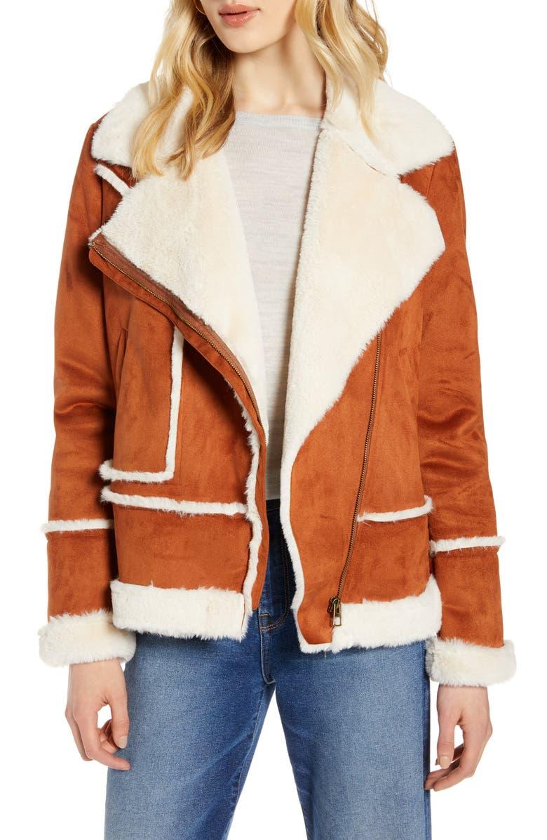 HALOGEN<SUP>®</SUP> Faux Shearling Moto Jacket, Main, color, IVORY- COGNAC