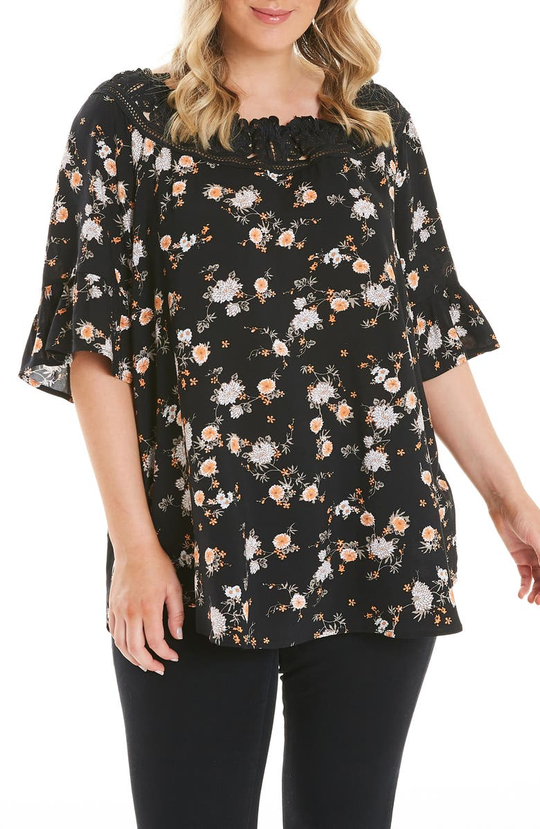 ESTELLE Daisy Lace Neck Top, Main, color, PRINT