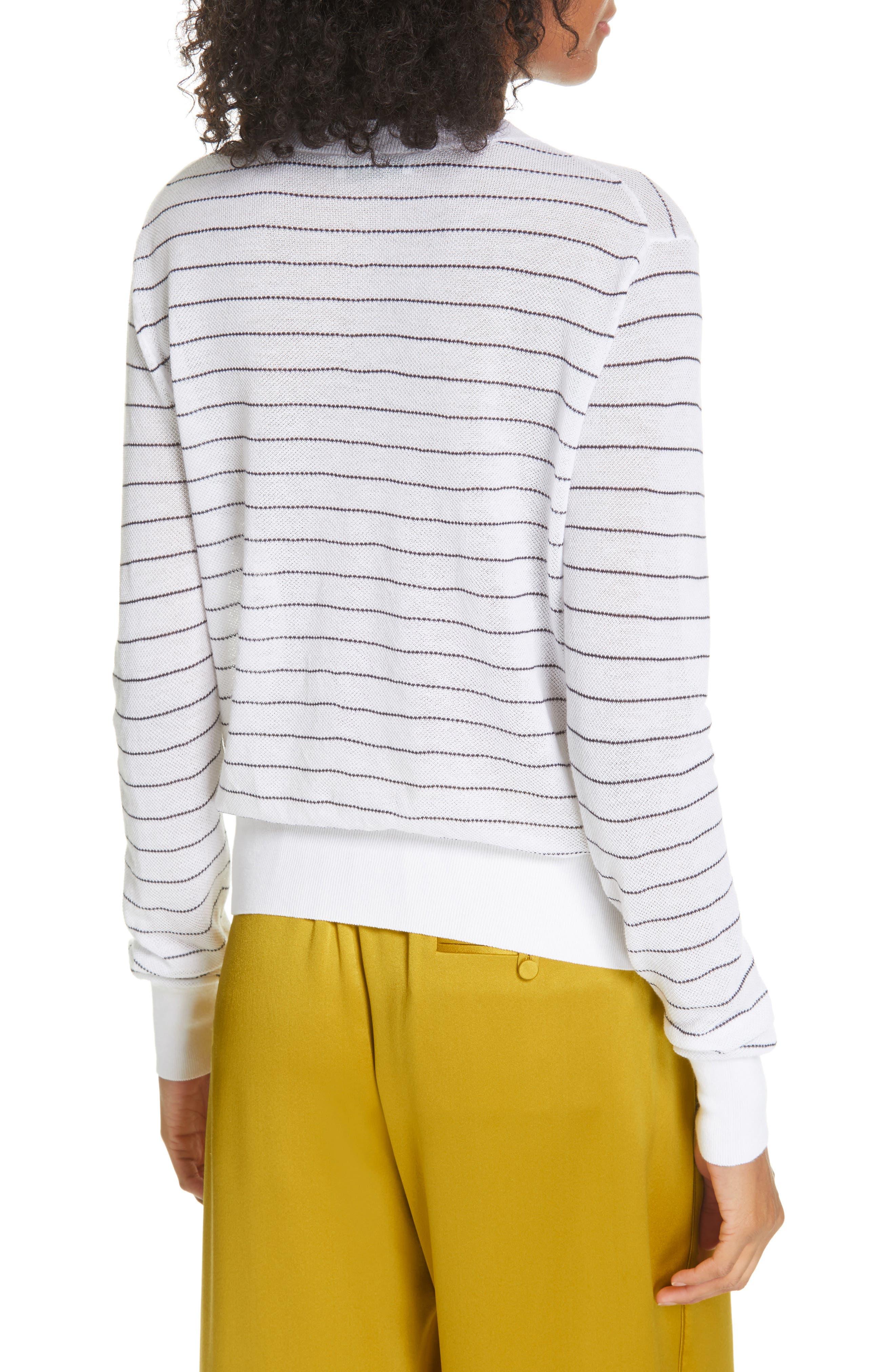 ,                             Stripe Long Sleeve Texture Knit Top,                             Alternate thumbnail 2, color,                             OPTIC WHITE/ NAVY