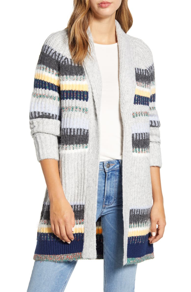 CASLON<SUP>®</SUP> Staggered Stripe Cardigan, Main, color, GREY MULTI STAGGERED STRIPE