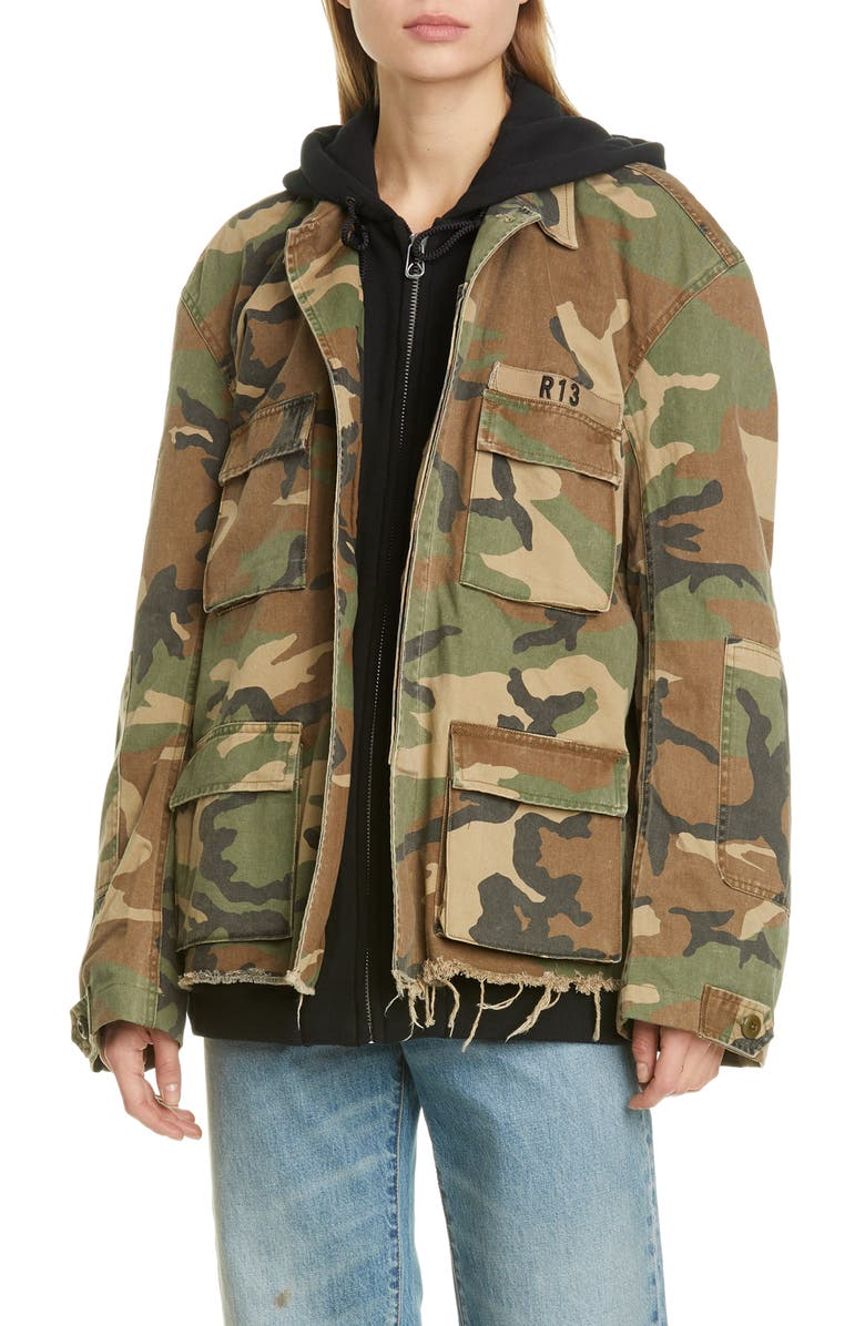 R13 Camo Abu Jacket with Long Hoodie, Main, color, CAMO W/ BLACK COMBO