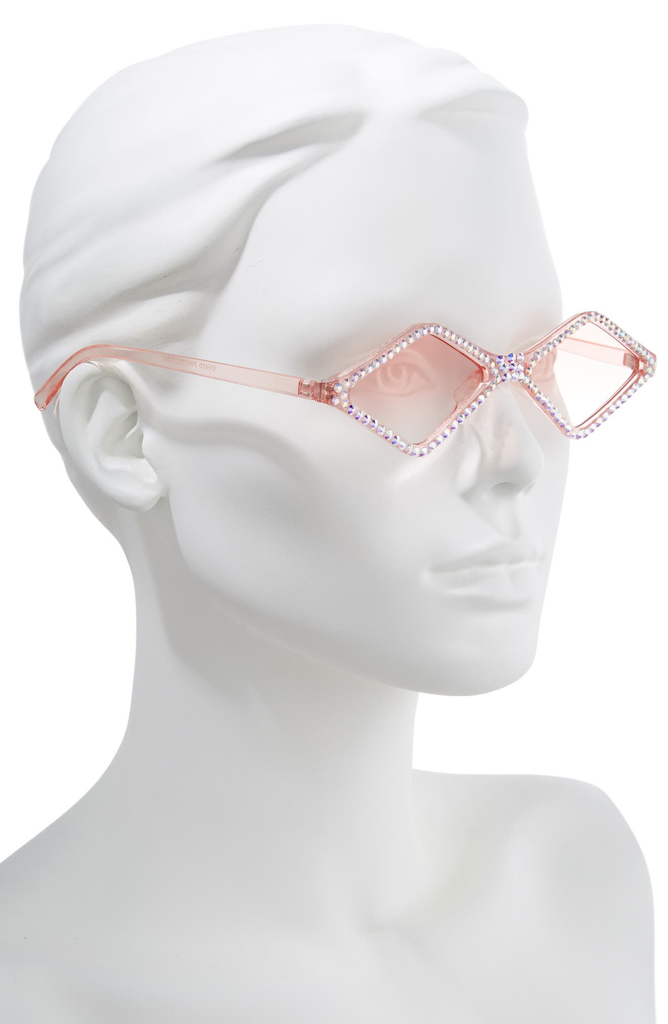 ,                             Geometric Crystal Frame Sunglasses,                             Alternate thumbnail 2, color,                             PINK/ CRYSTAL