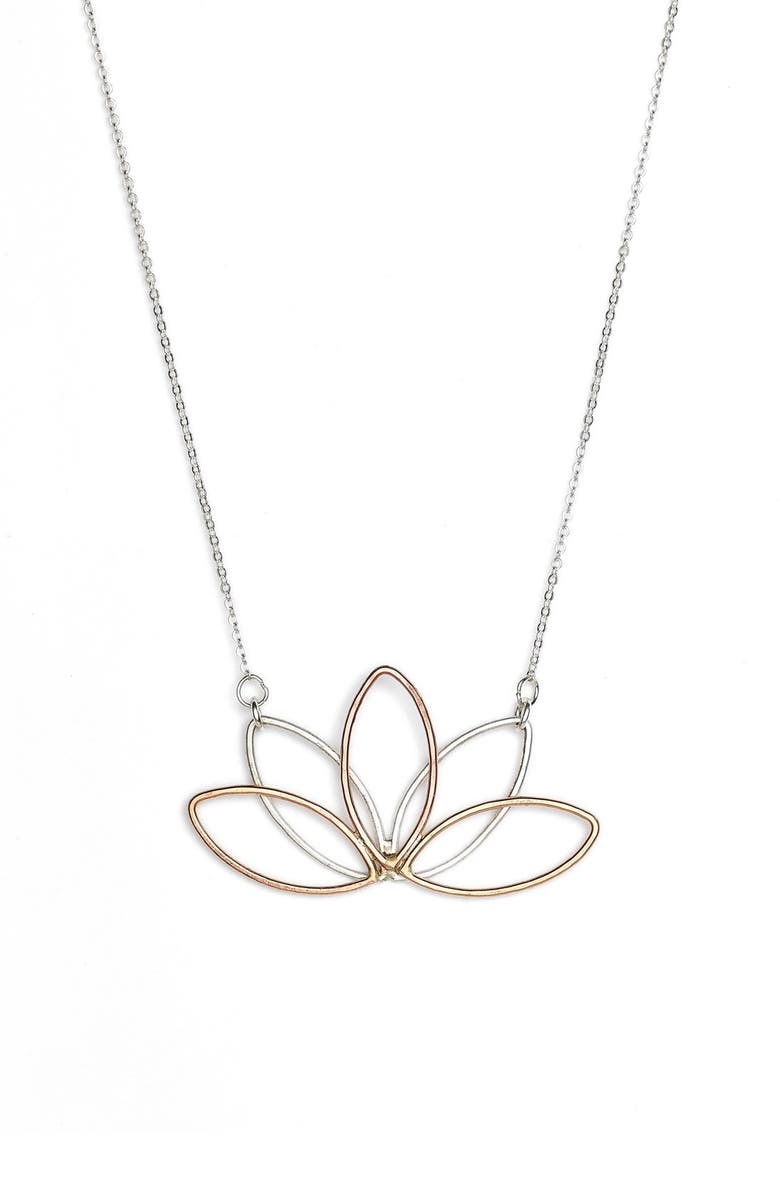 NASHELLE Lotus Pendant Necklace, Main, color, 040
