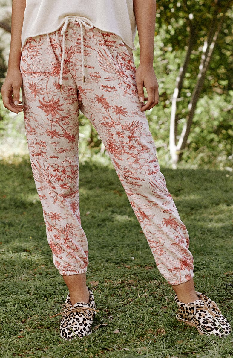 THE GREAT. The Stadium Palm Print Crop Sweatpants, Main, color, WASHED WHITE W/ RED PALM PRINT