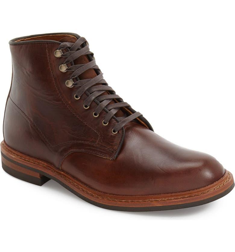 ALLEN EDMONDS 'Higgins Mill' Plain Toe Boot, Main, color, BROWN LEATHER